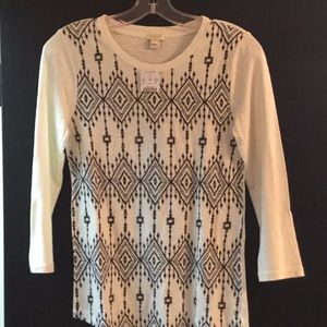 J Crew 3/4 sleeve embroidered t shirt